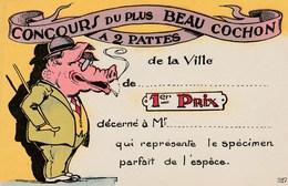 CPA Animal Humanisé Position Humaine 1er Prix Concours Cochon Porc Pig Humour Fantaisie Illustrateur (2 Scans) - Cerdos