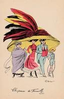 CPA Femme Lady Women Girl Mode Chapeau Immense Hat Chapeau De Famille Illustrateur G. MOUTON (2 Scans) - Other Illustrators