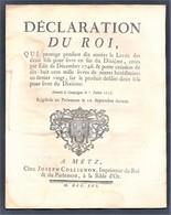 Déclaration Du Roy Impôts Compiègne 7 JUILLET 1756 Imprimé à Metz - Décrets & Lois