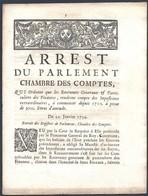 ARREST Du Parlement Chambre Des Comptes    METZ 22 JANVIER 1734 - Decrees & Laws