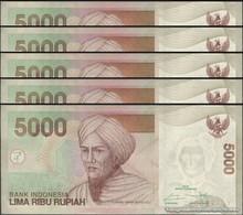 TWN - INDONESIA 142p - 5000 5.000 Rupiah 2016 DEALERS LOT X 5 Prefix YJV UNC - Indonesia