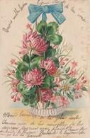 CPA Gaufrée Découpi Ajouti Collage Vase De Fleurs Luzerne Trèfle Myosotis Fantaisie Embossed (2 Scans) - Blumen