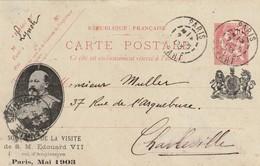Entier 124 CP 1 Repiqué Avec Portrait Et Armoiries Lors De La Visite D'Edouard VII à Paris. TTB. - Entiers Postaux