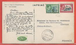 SALOMON CARTE PHARMACEUTIQUE DE 1955 DE HONIARA POUR CHAVILLE FRANCE - Salomon (Iles 1978-...)