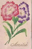 CPA Découpi Ajouti Collage Fleurs Anémone Amitié Fantaisie (2 Scans) - Blumen