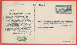 ASCENSION CARTE PHARMACEUTIQUE DE 1955 POUR CHAVILLE FRANCE - Ascension (Ile De L')