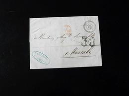 LETTRE DE TUNIS POUR MARSEILLE  -  1865  - - Poststempel (Briefe)