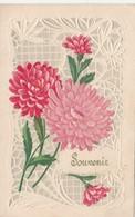 CPA Gaufrée Découpi Ajouti Collage Fleurs Chrysantème Embossed Fantaisie Style Art Nouveau (2 Scans) - Blumen