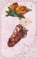CPA Dentelée Dentelle Découpi Ajouti Collage Fleurs Tulipe Crustacé Homard Fantaisie (2 Scans) - Blumen