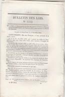 Bulletin Des Lois 1152 De 1844 Construction Pont Suspendu  Sur Le Loir à Flée Sarthe Avec Tarif Péage - Décrets & Lois
