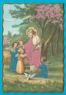 Pâques Carte Ancienne Brodée Feutrine Anges Et Colombe - Brodées