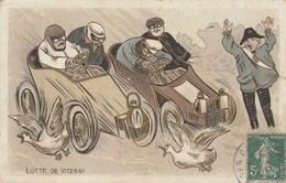 CPA Course Automobile Lutte De Vitesse Voiture Véhicule Ecraseur De Canard Garde-Champêtre Illustrateur (2 Scans) - Cartoline