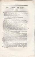 Bulletin Des Lois 1156 De 1844 Relative Aux Douanes + Ouverture St Hippolyte Et Goumois Doubs Exportation Grains Farines - Décrets & Lois