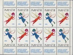 Feuille 10 Timbres Comité Contre Maladies Respiratoires Et Tuberculose Le Souffle C'est La Vie 1981 - Full Sheets