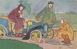CPA Voiture Véhicule Automobile Tacot Panne Crevaison Pluie Parapluie Pépin Pébroquel Illustrateur J. MATET (2 Scans) - Cartoline