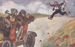 CPA Voiture Véhicule Automobile Tacot Ecraseur De Canard Fantaisie Illustrateur (2 Scans) - Cartoline