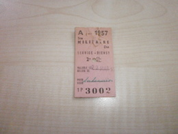Ancien Ticket Train SNCB 1957 MILITAIRE - Europe