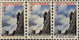 3 Grandes Vignettes Comité Nationale Défense Contre Tuberculose Maintenons Notre Effort 1967 Alpinisme Montagne - Antituberculeux