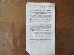 DECRET DE LA CONVENTION NATIONALE DU 24e JOUR DE GERMINAL AN SECOND QUI SUSPEND L'EXECUTION DU DECRET DU 10 FRIMAIRE EN - Décrets & Lois