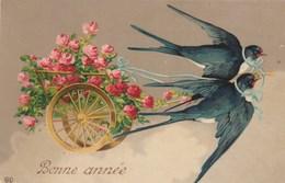 CPA Glacée Oiseau Humanisé Hirondelle Fleur Rose Bonne Année Fantaisie Illustrateur (2 Scans) - Blumen