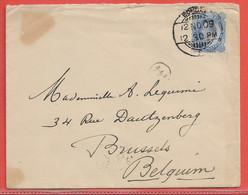 INDE LETTRE DE 1909 DE BOMBAY POUR BRUXELLES BELGIQUE - India (...-1947)
