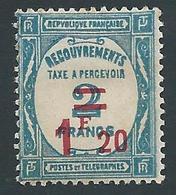 FRANCE - 1929-31 - Timbre Taxe YT N°64 - 1 F. 20 Sur 2 F. Bleu - Neuf* - TTB Etat - 1859-1955 Neufs