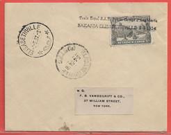 CONGO BELGE LETTRE DE 1934 TRAIN ROYAL PRINCE GEORGE D'ANGLETERRE DE ELISABETHVILLE POUR NEW YORK - Belgisch-Kongo
