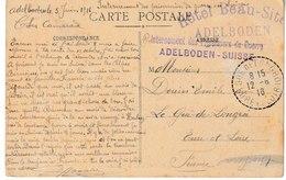 Militaria ADELBODEN-SUISSE Internement Des Prisonniers De Guerre 1916 (au Recto Chalons Sur Saône Le Pont Des Dombes) - Guerre 1914-18