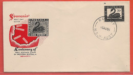 AUSTRALIE LETTRE FDC CYGNE OISEAU DE 1954 DE BOTANY - 1952-65 Elizabeth II : Pre-Decimals