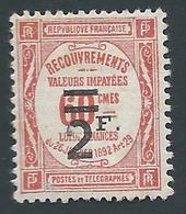 FRANCE - 1926 - Timbre Taxe YT N°54 - 2 F. Sur 60 C. Rouge - Neuf* - Bon Etat - 1859-1955 Nuevos