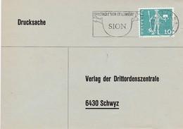 Mi: 697. Bücherzettel Von Sion Nach Schwyz Drittordenzentrale.  24.7.1967 - Switzerland