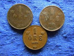 SWEDEN 1 ORE 1875, 1876 KM734, 1879 KM745 - Suède