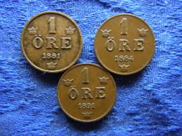 SWEDEN 1 ORE 1881, 1884, 1891, KM750 - Zweden
