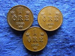 SWEDEN 1 ORE 1898, 1899, 1905, KM750 - Zweden