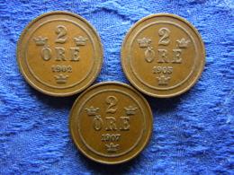 SWEDEN 2 ORE 1902, 1905 KM746, 1907 KM769 - Sweden