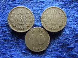 SWEDEN 10 ORE 1874, 1876 KM737, 1882 KM755 - Sweden