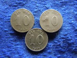 SWEDEN 10 ORE 1884, 1887 KM755, 1907 KM774 - Sweden