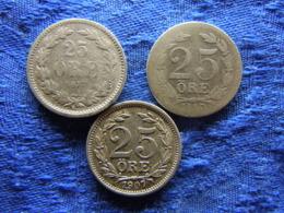 SWEDEN 25 ORE 1877 KM738, 1880 KM739, 1907 KM775 - Suède