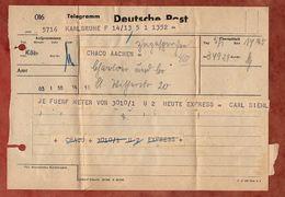 Telegramm, Karlsruhe Nach Koeln, 1948? (90108) - Zona Anglo-Américan