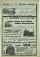 1904 Publicités Block-Notes GAUMONT Jumelles BELLIENI Appareils KRAUSS Pub D'époque - Appareils Photo