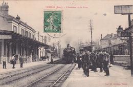 27-VERNON (EURE)-L'Intérieur De La Gare-ARRIVEE Du TRAIN Gros PLAN-VOYAGEURS-Edit. LAVERGNE VERNON-TIMBREE-1923-(26/1/20 - Vernon