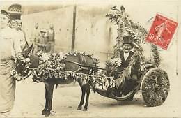 Themes Div-ref EE312- Carte Photo -legrange -ou Segrange -attelage Ane Fleuri - Theme Anes -cavalcade -carnaval - - Burros