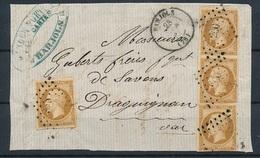 """DI-196: FRANCE: Lot Avec """"NAPOLEON"""" N°13B (paire + 2) Sur Devant De Lettre De Bargols Pour Draguignan - 1853-1860 Napoleon III"""