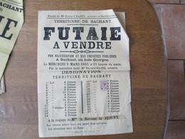 BACHANT LE 5 MARS 1890 FUTAIE A VENDRE AU BOIS GEORGES A LA REQUÊTE DE Mme LA BARONNE DE JOIGNY 43cm/31cm TIMBRE FISCAL - Plakate
