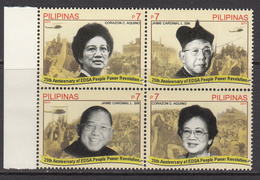 2011 Philippines People Power Revolution Women Corizon Aquino   Complete Block Of 4 MNH - Philippines