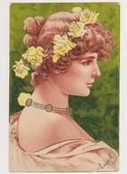 Cpa Fantaisie Gaufrée / Jolie Jeune Femme De Profil Avec Fleurs , Style Art Nouveau - Donne