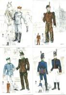 Carte Maximum - Portugal - Set Of 6 Cartes - Colegio Militar - Uniformes - Military Uniforms - Uniformes Militaires - Cartoline Maximum