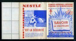 Carnet De 1959  - Tuberculose - Antituberculeux - PUB SAVON - Nestlé Vache étable - Antituberculeux