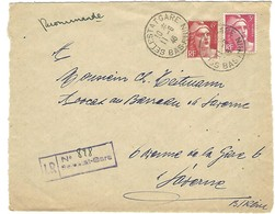 SELESTAT GARE 11.6.1946 Devant De Lettre Recommandée Cachet Provisoire Caoutchouc 2 Lignes LR898 - 1921-1960: Modern Tijdperk