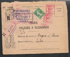 1928 - Lettre(devant)1488 Affranchissement MIXTE Seul De Semeuse 159+ 2 EMA 50C Qui Oblitèrent Le Timbre ! PAS COURANT - Marcofilia (sobres)